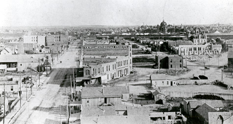 Fort Worth Skyline in 1889 showing Spring Palace