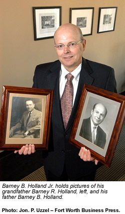 Barney B. Holland Jr. holds pictures of his grandfather Barney R. Holland, left, and his father Barney B. Holland.