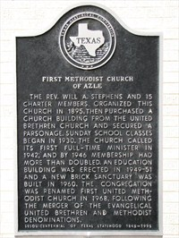 Historic Marker for First UMC of Azle