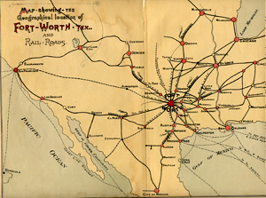 Fort Worth Rail Road Map 1876
