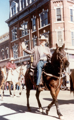 Commissioner J.D. Johnson riding horse in parade