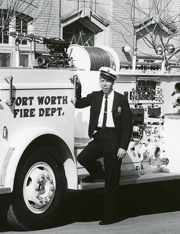 Jim Noah in front of fire truck