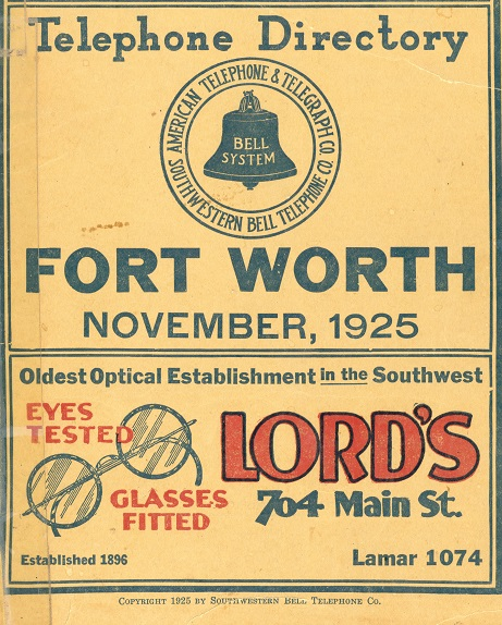 1925 Fort Worth Telephone Directory partial cover