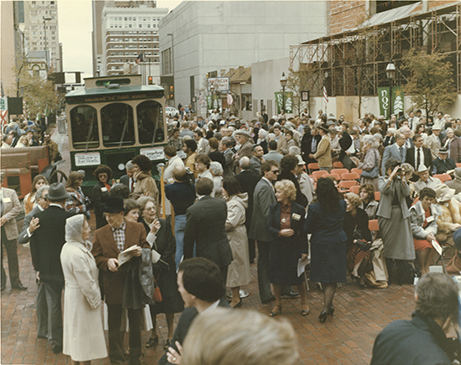 Crowd during ceremonies after restoration of 1895 Courthouse, 1983