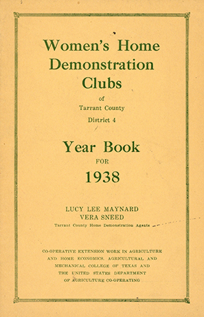 1938 Women's Home Demonstration Clubs yearbook for Tarrant County District 4