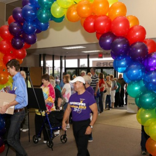 Balloon archway at event entrance