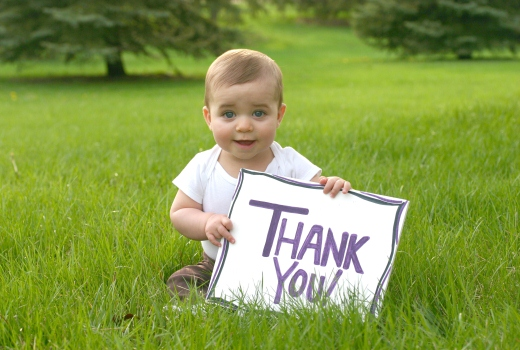Baby with Thank you sign