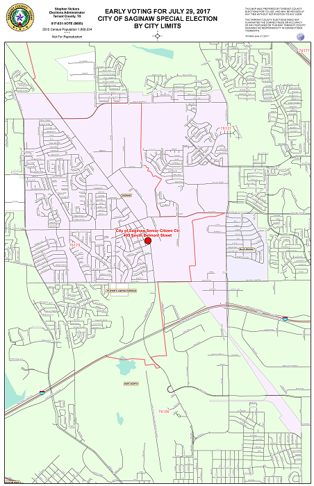 City of Saginaw Special Election map of Early Voting locations.