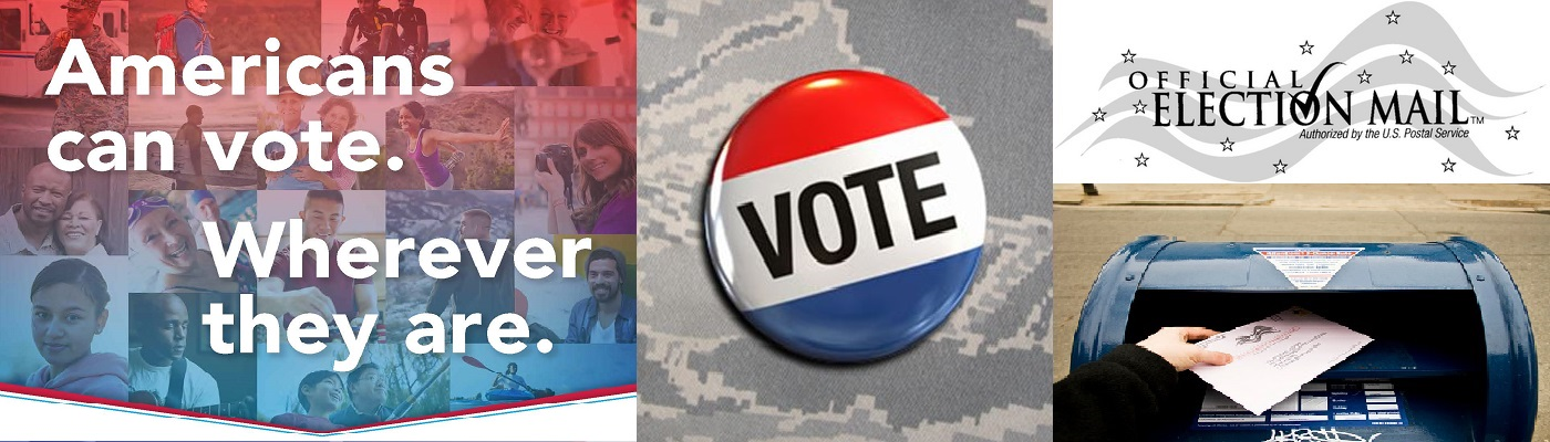 Images of Military and Overseas Voters with a Vote Button and Mail Box