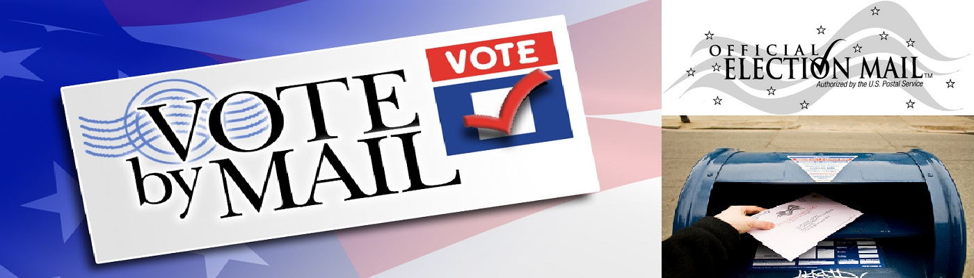 Vote by mail banner, mailbox and Official Election Mail Logo.