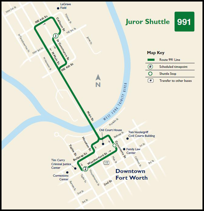 Juror Shuttle Map