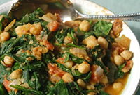 Simmered Spinach and Chickpeas (Protein, Vegetable)