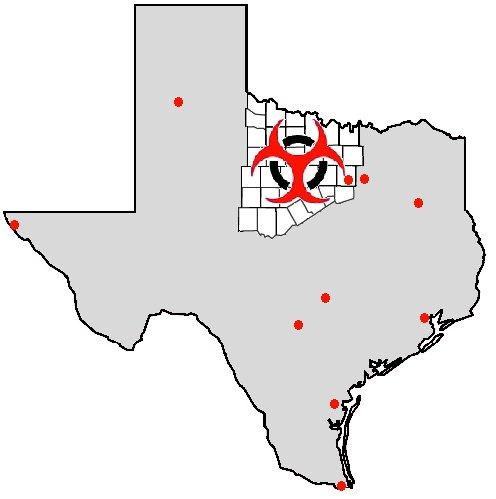 Texas map with laboratory locations marked
