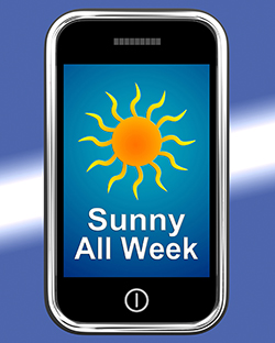 Cell phone with Sunny All Week message