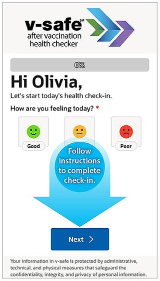 V-Safe after vaccination health checker screen shot