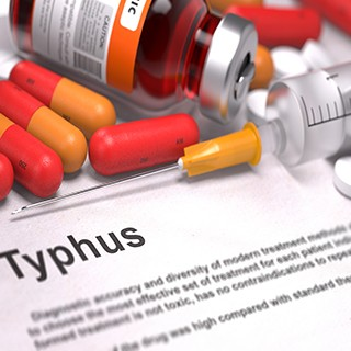 Tyhpus information with pills, syringe, vacine