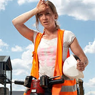 construction woman feeling heat