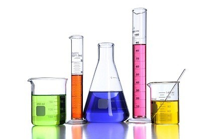 Laboratory chemicals in containers