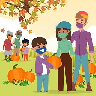 graphic cartoon- family wearing protective masks visiting pumpkin patch