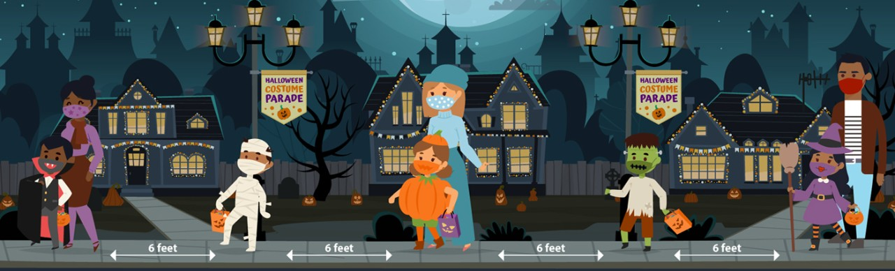 graphic cartoon of people trick-or-treating, maintaining 6 feet between each other
